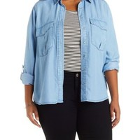 Plus Size Button-Up Denim Chambray Top with Pockets