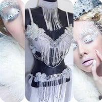 Frost Fairy Outfit (Top, Belt, Choker) White/ Baby Blue: Rave wear, new years, ice queen, winter, decedance, rave bra, edc, festival, rave