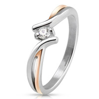 Blush - FINAL SALE Rose gold IP silver stainless steel two tone cross over band with cubic zirconia solitaire stone