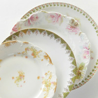 Antique Cottage Style Mismatched Plates, Set of 4, Wedding, Shabby Chic, Vintage, Replacement China