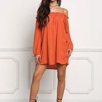Rust Cold Shoulder Ruched Tunic Top