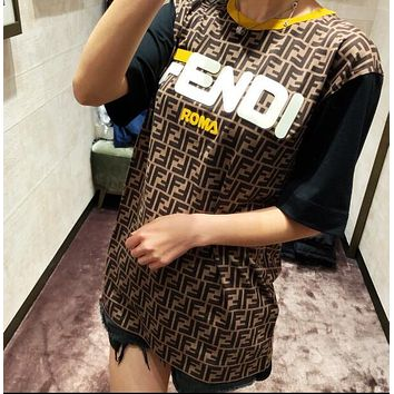 FENDI Hot Sale Trending Women Men Casual Print Print T-Shirt Top