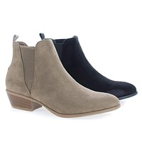 Manny11 by Wild Diva, Chelsea Almond Toe Slip On Ankle Boots