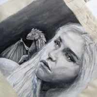 Handpainted tote bag Daenerys Targaryen, Game of Thrones, The Mother of Dragon Fanart custom eco friendly bag