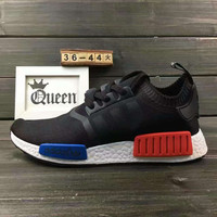"Women ""Adidas"" NMD Boost Casual nmd Sports Shoes Black blue red soles"