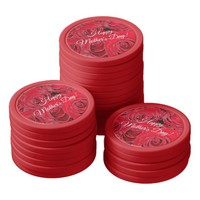 Happy Mother's Day or Your Text Red Roses Floral Poker Chip Set
