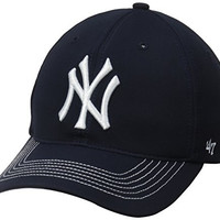 MLB New York Yankees '47 Brand Game Time Closer Stretch Fit Hat, One Size Stretch, Navy