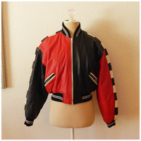 Womens Vintage 90s Hip Hop Red Black White Cropped Leather Jacket XSmall