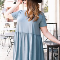 Jersey Baby Doll Dress, Slate Blue | Plus Size