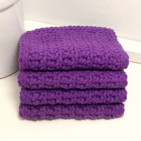 Purple Crochet Dishcloths - Handmade Eco-Friendly Reusable Kitchen or Bathroom Cleaning Cloth - Set of 4