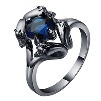 man dragon Ring Fashion Black Gold Filled Jewelry Vintage blue CZ crystal engagement Rings For men Birthday Stone jewelry