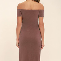In a Ruche Washed Burgundy Off-the-Shoulder Midi Dress