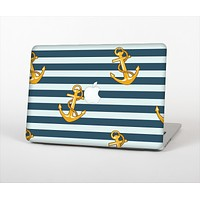 """The Navy Striped with Gold Anchors Skin Set for the Apple MacBook Air 13"""""""