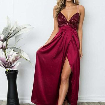 Prom Dress Burgundy Slit Evening Dresses Spaghetti Straps