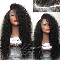 100% Unprocessed Human Hair Curly Lace Front Human Hair Wigs Bleached knots with Baby Hair Free Shipping