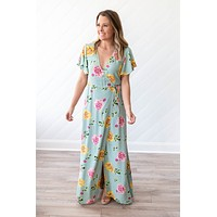 Wrapped Up In Floral Maxi - Mint