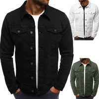 Trendy Denim Solid Black White Men Jackets Tops Button Coats Long Sleeve Fashion Big Size Male CLoths 2018 Autumn Plus Size Jacket san0 AT_94_13