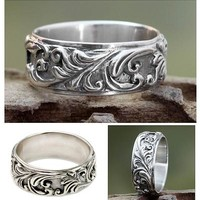 Leaf and Tree Sterling Silver Band Ring - Flourishing Foliage   NOVICA