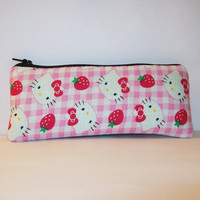 "Hello Kitty with Strawberries Cotton Padded Pipe Pouch 7.5"" / Glass Pipe Case / Spoon Cozy / Piece Protector / Pipe Bag / LARGE"
