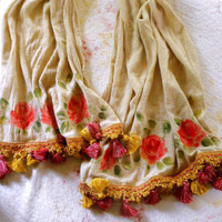 Boho Rose Tassel Scarf Cotton Gauze Hand Painted Bohemian Summer Accessories FREE SHIPPING