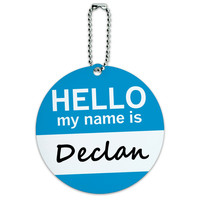 Declan Hello My Name Is Round ID Card Luggage Tag