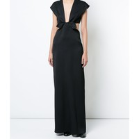 Proenza Schouler Deep V Neck Bow Dress - Black Sleeveless Dress