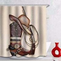Western Cowboy Boot Hat Shower Curtain Horse 50%OFF