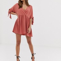 ASOS DESIGN smock wrap mini dress with tie sleeves | ASOS