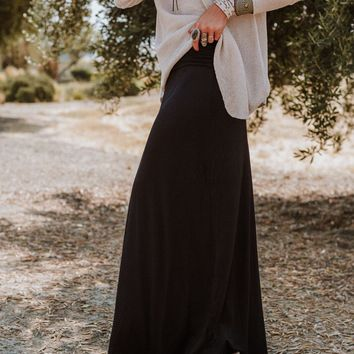 Solid Maxi Skirt - Black