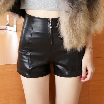 Hot Shorts Neploe Autumn Winter Female  Slim Casual Leather Loose High Waist  Women PU Zipper Skinny Cool  66154AT_43_3