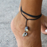 Zebra Seashell Multiuse Black String Jewelry  Anklet  by RumCay