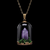 Amethyst set in a Glass Terrarium Pendent / Glass vial necklace