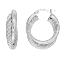 Sterling Silver Rhodium Finish Shiny And Twisted Cable Double Tube Round Hoop Earrings - 25 mm Diameter