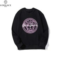 Versace 2019 new chest pink print loose wild round neck sweater Black
