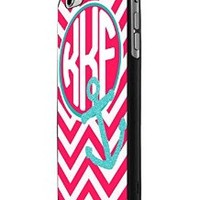 Pink Chevron Anchor Monogram Personalized iPhone 6 Case Hardplastic Frame Black Fit For iPhone 6