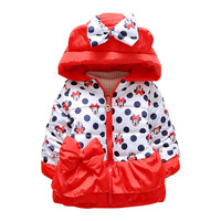 Retail 2016 New Arrive Girls Lovely Minnie Jacket Baby Boys Girls Cotton Winter Thick Warm Coat Fashion Dot Children Outerwear