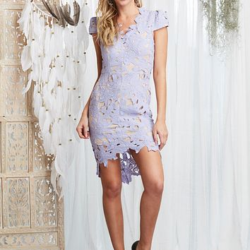 First Day Lilac Floral Applique Bodycon Dress