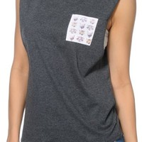 A-Lab Corinne Cat Pocket Charcoal Muscle Tee