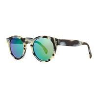 Leonard Round Horn-Pattern Sunglasses with Mirror Lens - Illesteva