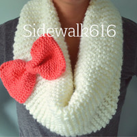 Cream and Coral Knit Bow Scarf Infinity Scarf Cowl