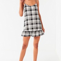 UO Gingham Peplum Mini Dress | Urban Outfitters