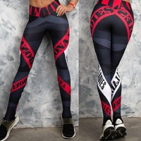 New Women Geometric stripes Yoga Pants Gym leggins sport women fitness Push Up Leggings Workout Pants ropa deportiva mujer gym