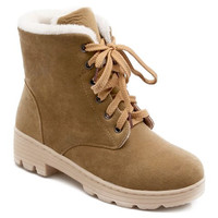 Camel Colored Flock and Lace Up Design Short Boots