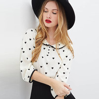 White Heart Print Doll Collar Loose Chiffon Top