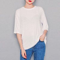 Plain-Styled Half-Sleeved T-Shirt by Hotping