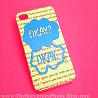 HANDMADE Real BOOK PAGE! The Fault in Our Stars Okay Okay iPhone 4  4s Phone Case tfios cover 5c 5s Samsung htc iPad Android one
