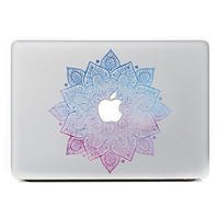 """iCasso Leaves Removable Vinyl Decal Sticker Skin for Apple Macbook Pro Air Mac 13"""" inch / Unibody 13 Inch Laptop (Blue and Pink)"""