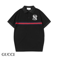 GUCCI & NY New fashion bust and back embroidery lapel top t-shirt Black