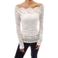 Women's Fashion Sexy Off Shoulder Slash Neck Lace Crochet Shirts Long Sleeve Slim Casual Tops Blouse Plus Size