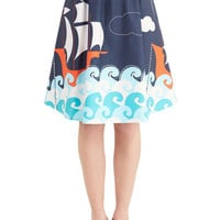 ModCloth Nautical Mid-length A-line Dancing on Deck Skirt